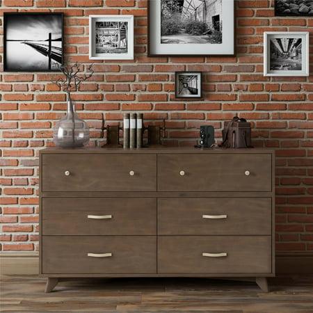 Novogratz Otis Mid-Century Modern 6-Drawer Dresser, Dark Walnut