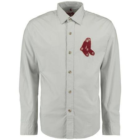 Boston Red Sox Red Jacket Knickerbocker Woven Long Sleeve Button-Up Shirt - Gray