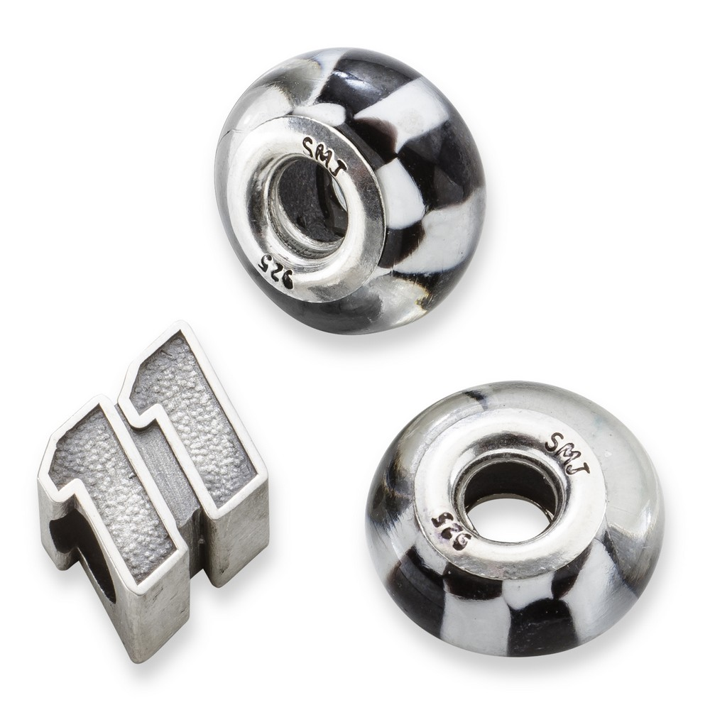 Denny Hamlin #11 Two Checkered Flag & Driver Number Sterling Silver Beads