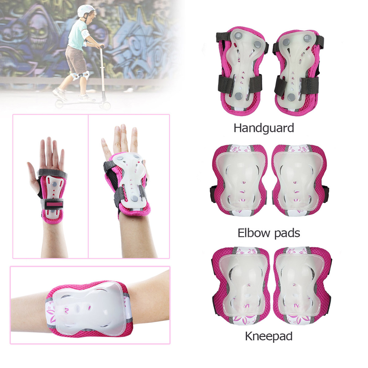 CoastaCloud Wrist Elbow Knee Pads 6PCS Skateboard Safety Outdoors Sports for Kid's Children Boys Girls Protective Gear... by CoastaCloud