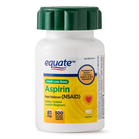 Equate Low Dose Aspirin Enteric Coated Tablets, 81 mg, 500 -