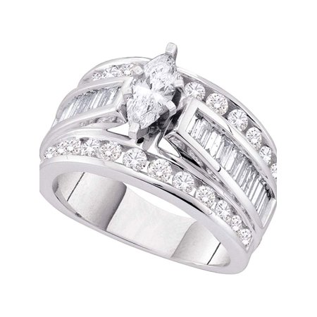 14kt White Gold Womens Marquise Diamond Solitaire Bridal Wedding Engagement Ring 1.00 Cttw - image 1 of 1