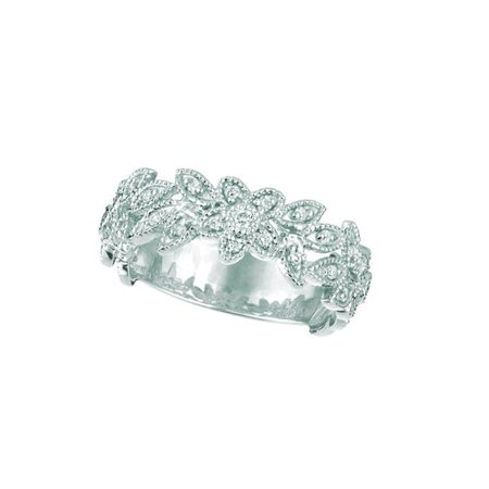 Harry Chad Enterprises 18263 0.28 CT Diamond Fancy Band Ring - 14K White Pave - image 1 de 1