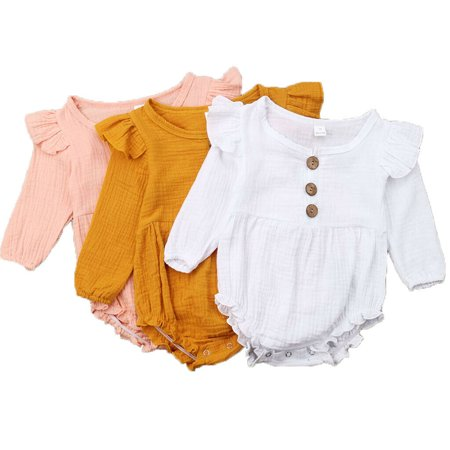 The Noble Collection Toddler Infant Baby Girl Long Sleeve Bodysuit Romper Jumpsuit Sunsuit Clothes