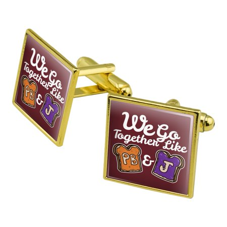 Peanut Butter and Jelly Together PB&J Best Friends Square Cufflink Set - Silver or