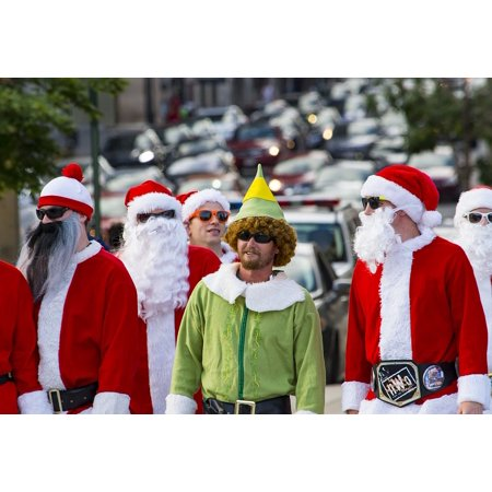 Santa Claus Elf (LAMINATED POSTER Holiday Costume Elf Red Santa Green Street Claus Poster Print 24 x)
