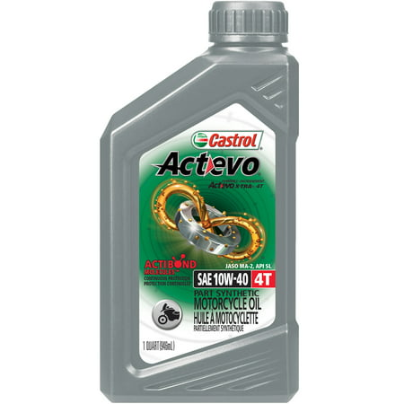(3 Pack) Castrol Actevo 4T 10W-40 Part Synthetic Motorcycle Oil, 1 Qt.