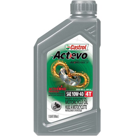 (3 Pack) Castrol Actevo 4T 10W-40 Part Synthetic Motorcycle Oil, 1 Qt. (10w40 Motorcycle Oil)