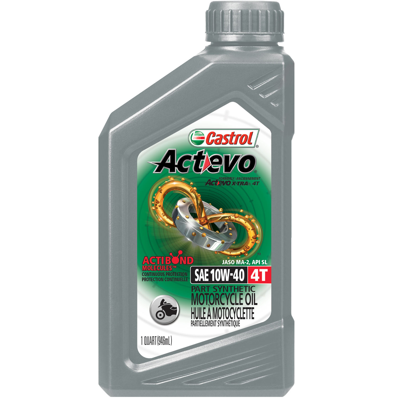 Castrol Actevo 4T 10W-40 Part Synthetic Motorcycle Oil, 1 Qt. Bottle