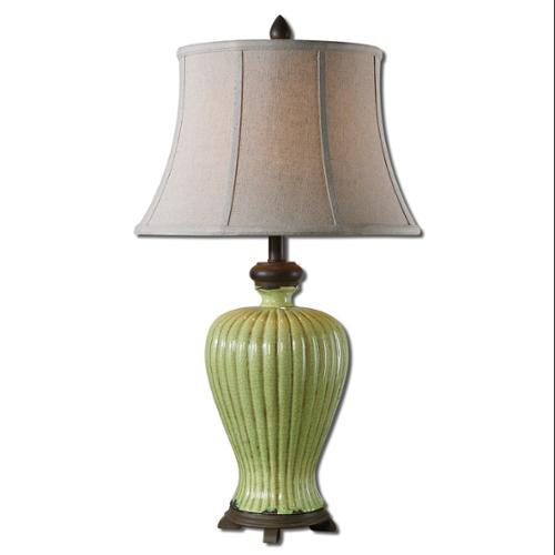 "31"" Crackled Green Ceramic, Chocolate Bronze & Khaki Round Bell Shade Table Lamp"