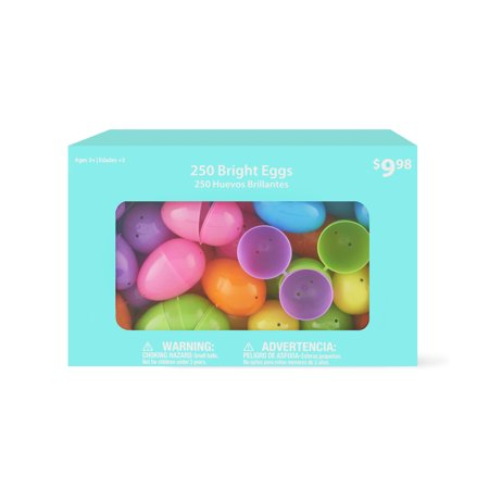 Way To Celebrate Easter Eggs, Bright, 250 Count (Clear Plastic Eggs)