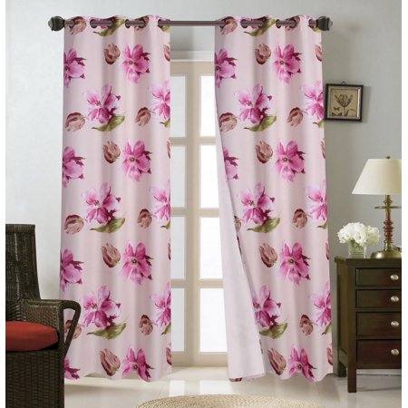 FLORAL#4   1-Piece Pink Magnolia Blackout Lined Grommet Window Curtain Panel 37