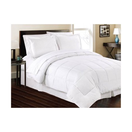 Manhattan Lights Embossed 8 Piece Bed In A Bag Queen White
