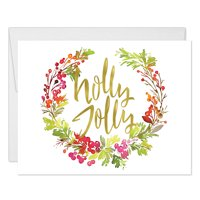 Holly Jolly Christmas Greeting Cards with Envelopes ( Set of 25 ) Holiday Greetings Festive Floral Leaf Spray Notecards, 25 Blank Inside, Folded & Boxed Cards Excellent Value by Digibuddha VH0049B