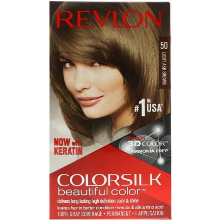 Color Ash Brown (Revlon ColorSilk Hair Color, 50 Light Ash Brown 1 ea)