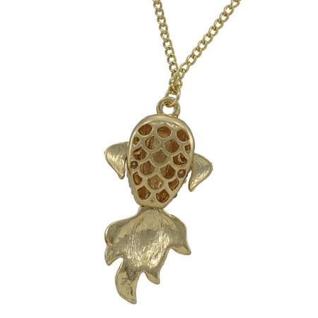 Rhinestone Encrusted Goldfish Necklace Koi - image 1 de 4