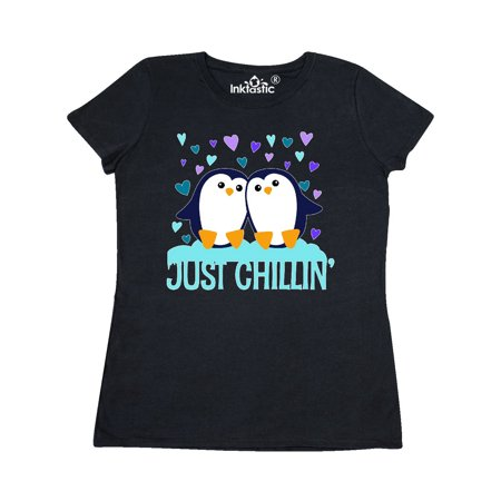 Just Chillin- cute penguins with hearts Women's T-Shirt - Just Chillin Insert