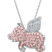"Swarovski Element Sterling Silver Flying Pig Pendant, 18"" Necklace"