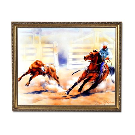 Western Rodeo Cowboy Calf Roping Horse Animal Wall Picture Gold Framed Art Print