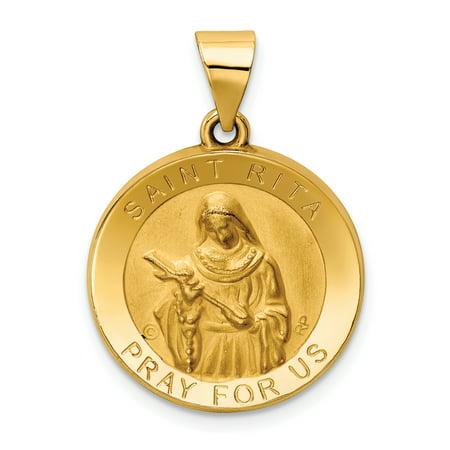 14k Yellow Gold Saint Rita Medal Pendant Charm Necklace Religious Patron Gifts For Women For (Paul Patron Saint Medal)