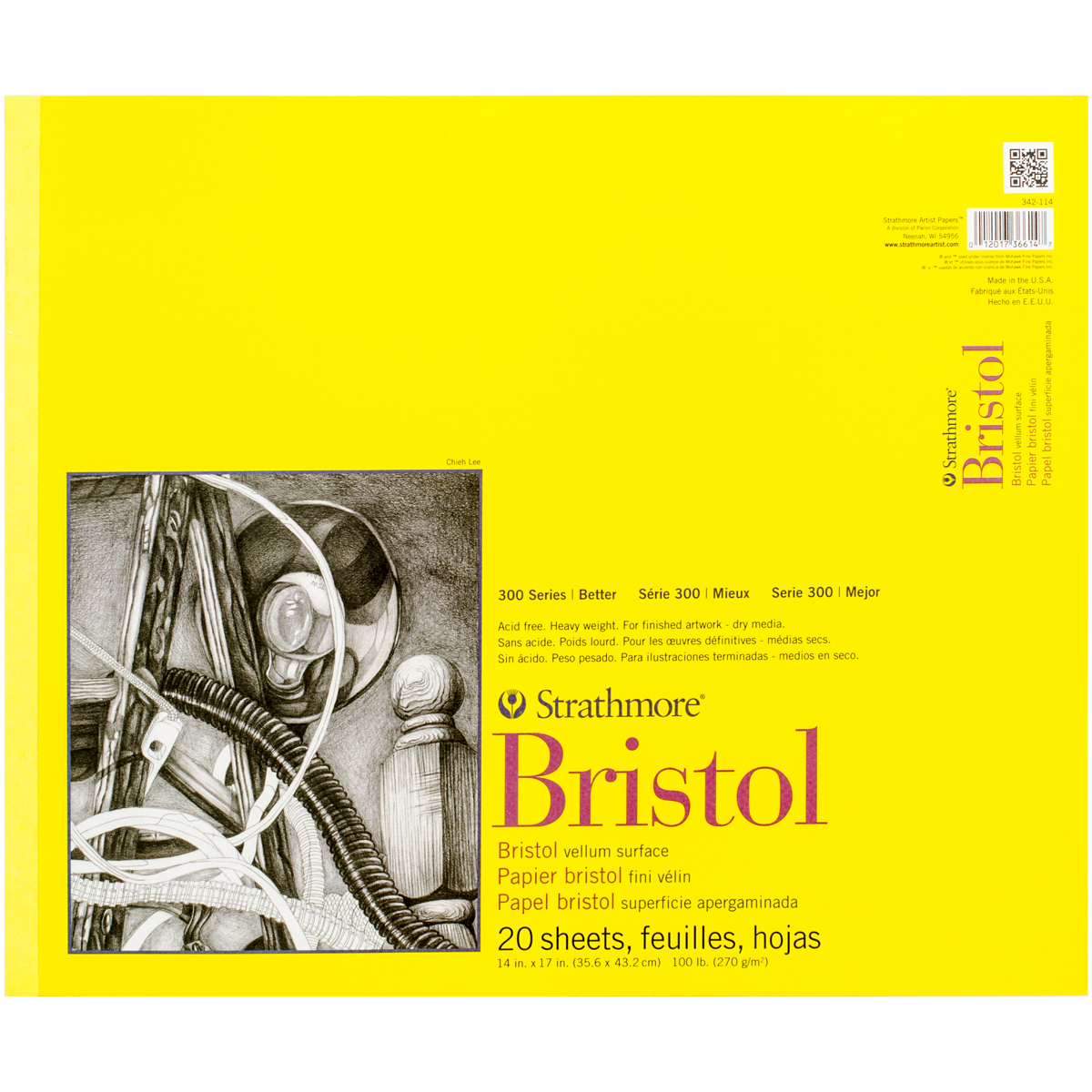 "Strathmore Bristol Vellum Paper Pad 14""X17""-20 Sheets"