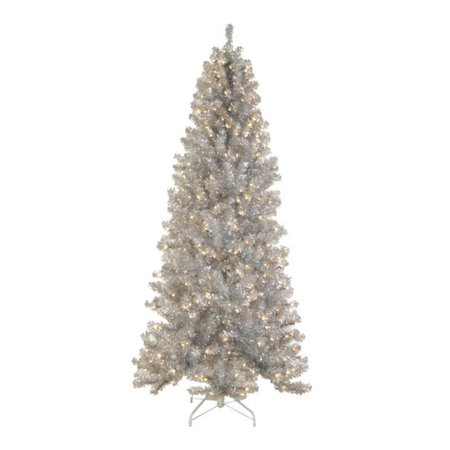 7.5' Pre-Lit Silver Tinsel Noble Pine Artificial Christmas ...