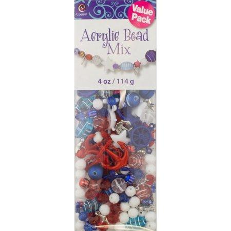 Cousin Acrylic 4 Oz. Patriotic Bead Shape Mix, 1 Each
