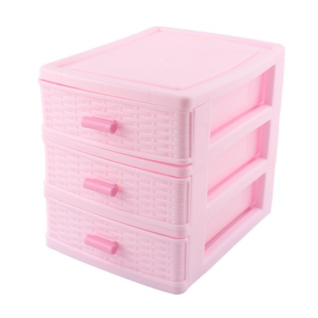 Home Bedroom Plastic 3 Layers Cosmetics Lipstick Hairpin Storage Box Case Pink - Pink Storage Bin