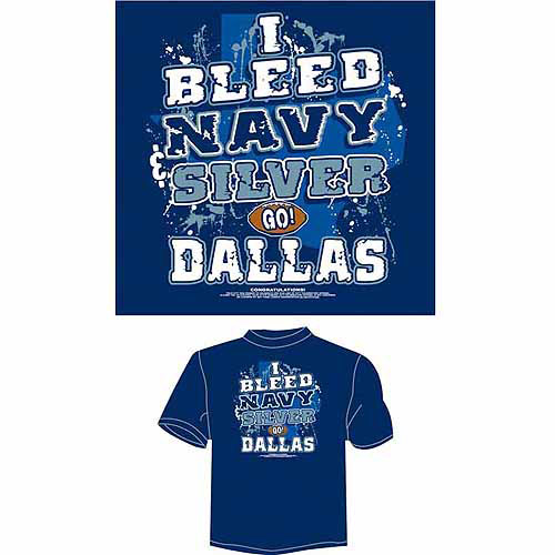 "Dallas Football ""I Bleed Navy and Silver, Go Dallas"" T-Shirt, Blue"