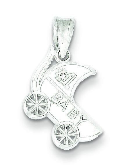 Sterling Silver #1 Baby Carriage Charm Pendant Jewelry
