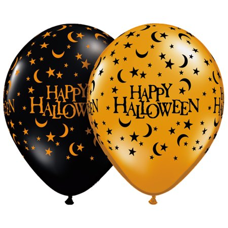 Scary Halloween Balloons (Qualatex Happy Halloween Moons & Stars 11