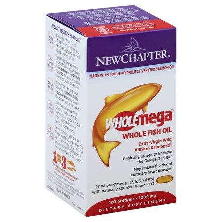New Chapter - WholeMega 100% Wild Alaskan Salmon Extra Virgin Omega-Rich Fish Oil 1000 mg. - 120 (New Chapter Wholemega Prenatal 500mg Fish Oil Softgels)