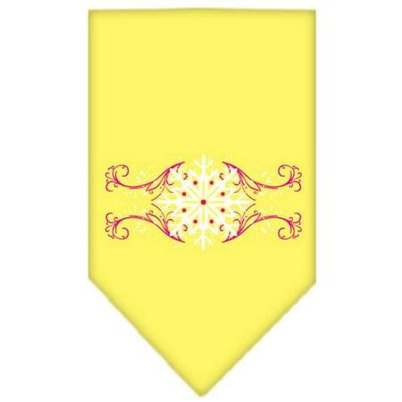 Large Swirl - Pink Snowflake Swirls Screen Print Bandana Yellow Large