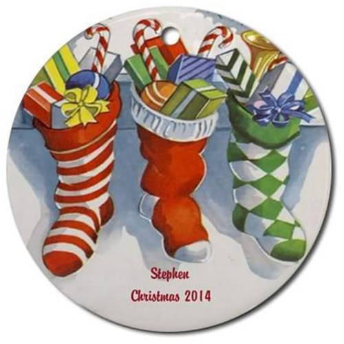 CafePress Personalized Christmas Stockings Ornament, Round