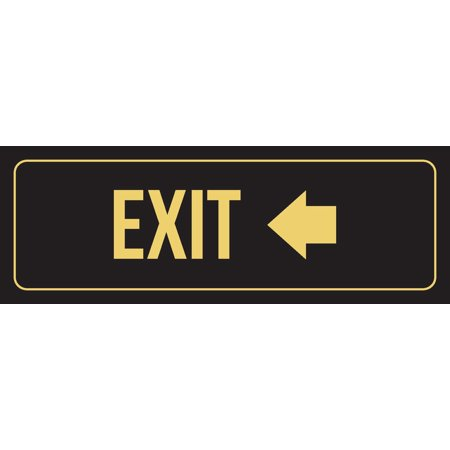 Black Background With Gold Font Exit - Left Arrow Office Business Retail Outdoor & Indoor Metal Wall Sign, 3x9 Inch