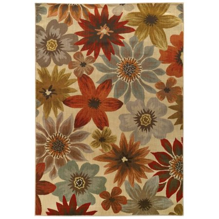 - Sphinx Casablanca Area Rugs - 5190A Country & Floral Beige Leaves Petals Buds Painted Rug
