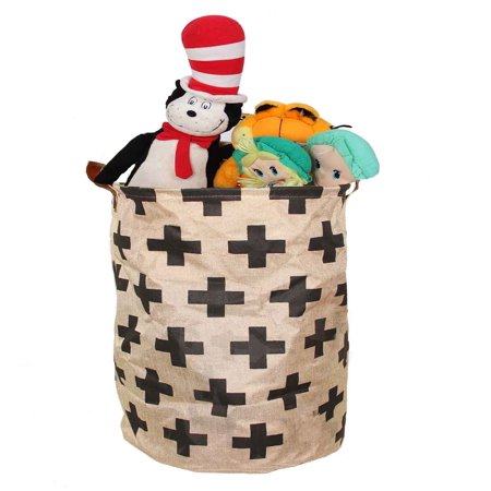 Toy Storage Bin Perfect for Toys Clothes or Laundry leather Carry handles cotton plus sign design where organazation and style meets 22 by 16 inch By Decor (Hut 8 Clothing Store)