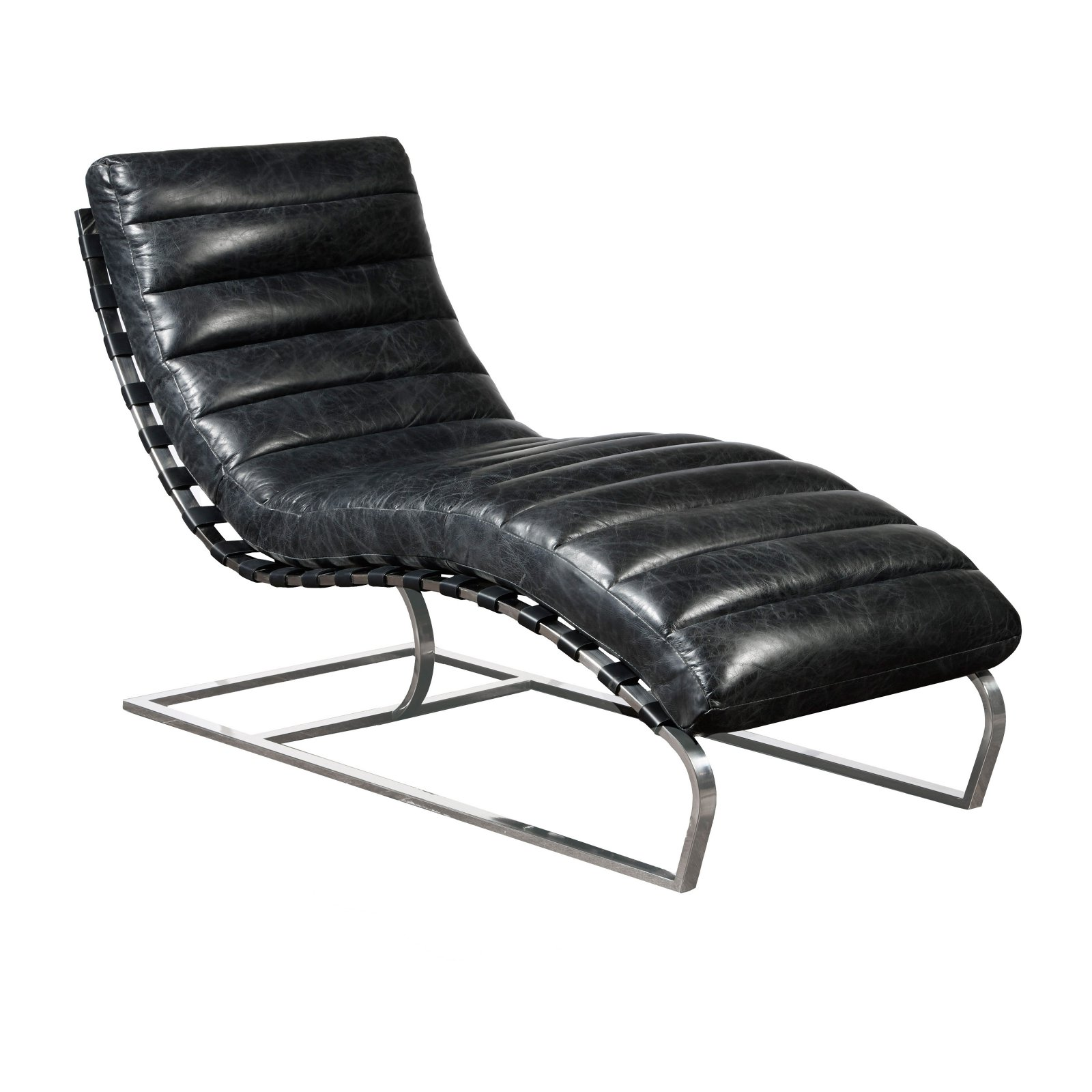 Channeled Black Leather Chaise with Metal  Base