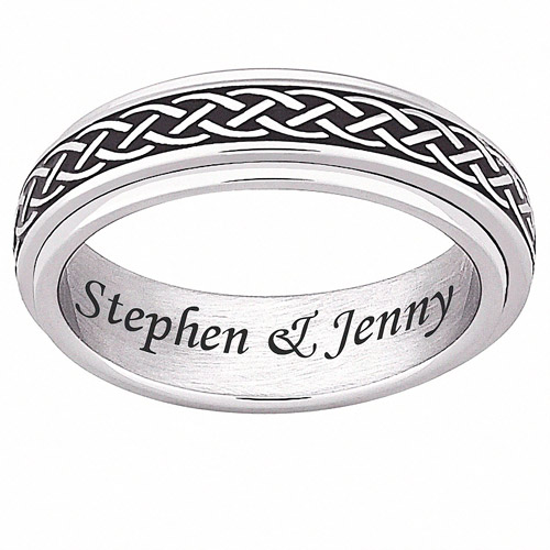Personalized Stainless-Steel Celtic Knot Spinner Band
