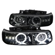 Spec-D Tuning For 1999-2006 Chevy Silverado Tahoe Suburban Smoke Halo Led Projector Headlights (Left+Right) 1999 2000 2001 2002 2003 2004 2005 2006
