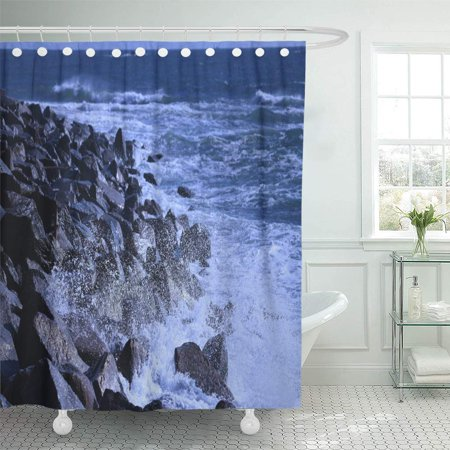 YUSDECOR Scene White The Pacific Ocean Line Wave Nature Out Bathroom Decor Bath Shower Curtain 66x72 inch - image 1 of 1