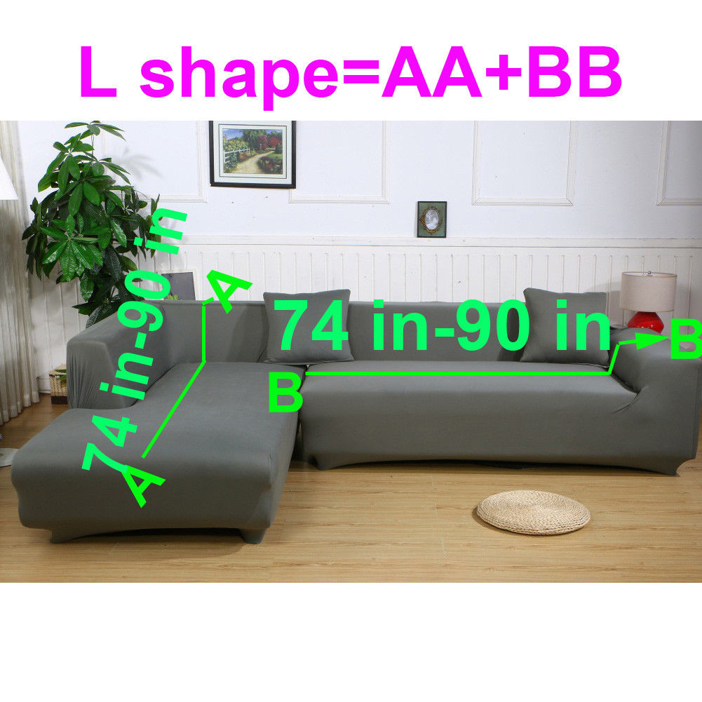"""L Shape Sofa Cover, 2 pcs 3+3 Seater Sofa Slipcover Couch Cover Stretch for L Shape Sectional Corner, Combined by AA(74''-87"""")+BB(74''-87"""") Part, with 2pcs free Pillow Covers as Gift"""