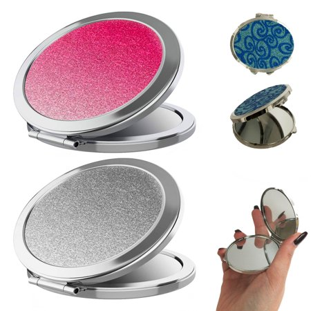 1Pc Compact Double Sided Folding Mirror Glitter Magnifying Travel Cosmetic Stand
