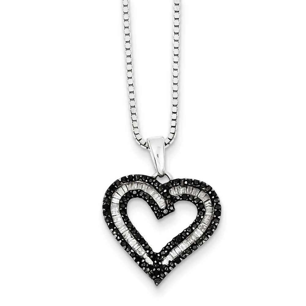 1/3 Cttw Black & White Diamond 17mm Heart Necklace in Sterling Silver