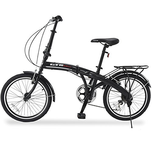 "GTM 20"" 6 Speed Foldable Bicycle Folding Bike Shimano Hybrid, Black"