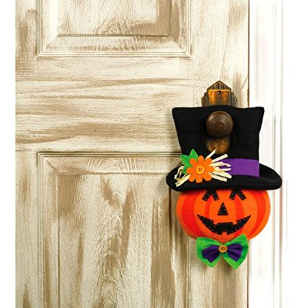 Family Friendly Jack-O-Lantern Door Hanger Halloween Trick or Treat Party Decoration, Orange, 13 34