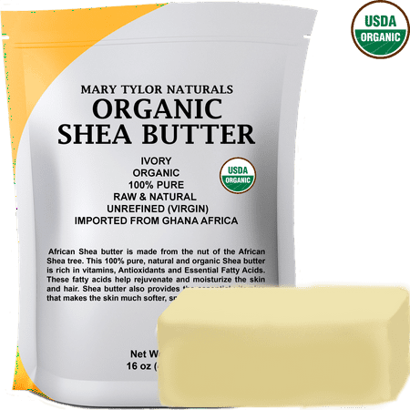 Organic Shea Butter 1 lb (16 Oz) Raw Unrefined Ivory Grade A. Amazing Skin Nourishment, Great For DIY Body Butters Lip Balms Lotions Acne Eczema & Stretch Marks By Mary Tyler