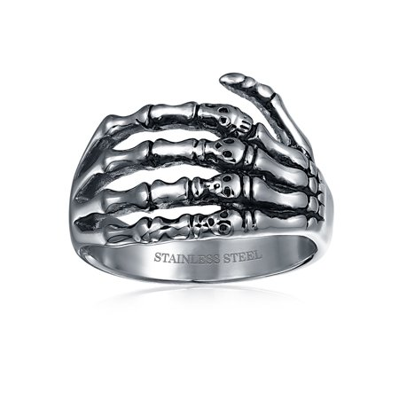 Goth Biker Punk Rocker Skelton Hand Wrap Band Ring For Men For Teen Oxidized Silver Tone Stainless Steel - image 1 de 3