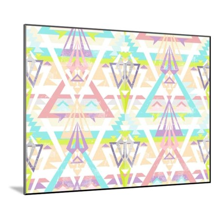 Aztec Wall Mount - Abstract Geometric Seamless Aztec Pattern. Colorful Ikat Style Pattern. Wood Mounted Print Wall Art By cherry blossom girl