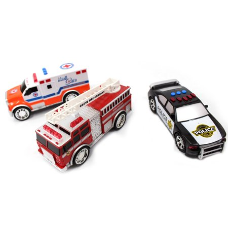 Police Ambulance (3-In-1 Emergency Vehicle Toy PlaySet For Kids (Fire Truck, Police Car, Ambulance))